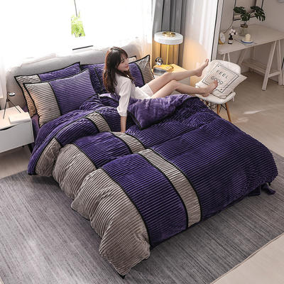 2019全新魔法絨四件套新款法萊絨水晶絨法蘭絨保暖四件套 1.5m床單款四件套 魅紫