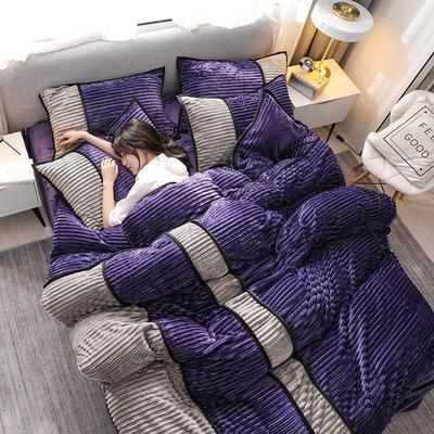2020新款魔法绒四件套法莱绒水晶绒法兰绒保暖四件套 1.5m床单款四件套 魅紫