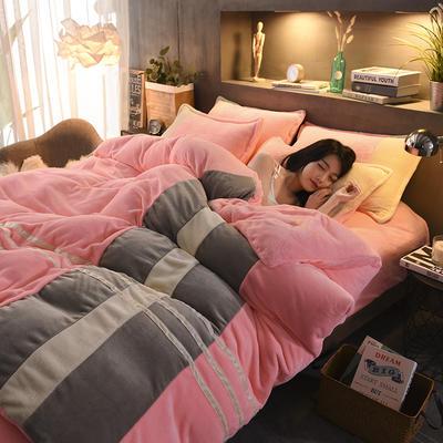 2020炫拼风法兰绒四件套纯色运动风拼色法莱绒四件套 1.8m(6英尺)床 粉红女郎