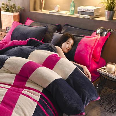 2020炫拼风法兰绒四件套纯色运动风拼色法莱绒四件套 1.5m(5英尺)床 倾城之恋