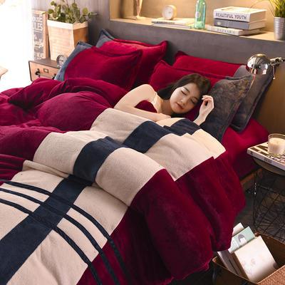 2020炫拼风法兰绒四件套纯色运动风拼色法莱绒四件套 1.5m(5英尺)床 奢华的延续