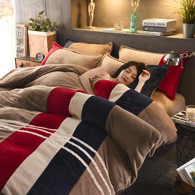 2020炫拼风法兰绒四件套纯色运动风拼色法莱绒四件套 1.5m(5英尺)床 夏威夷科纳