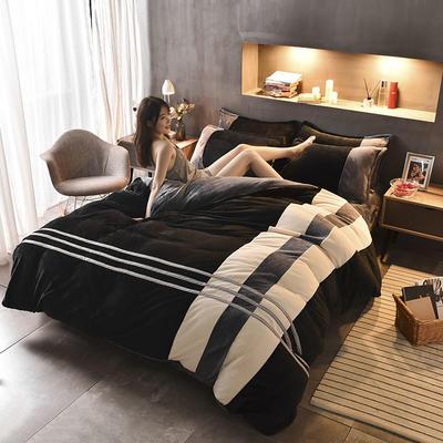 【专版专利】炫拼风法兰绒四件套纯色运动风法莱绒四件套 1.5m(5英尺)床 王者