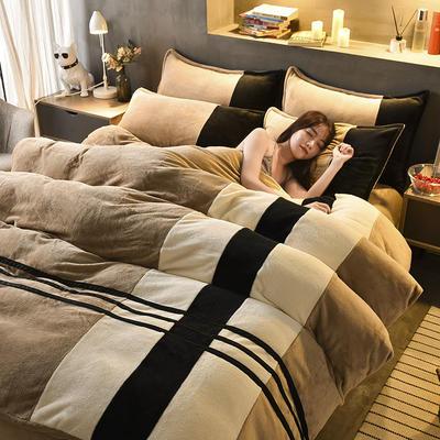 2020炫拼风法兰绒四件套纯色运动风拼色法莱绒四件套 1.5m(5英尺)床 品味