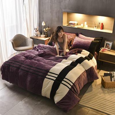 【专版专利】炫拼风法兰绒四件套纯色运动风法莱绒四件套 1.5m(5英尺)床 佳人