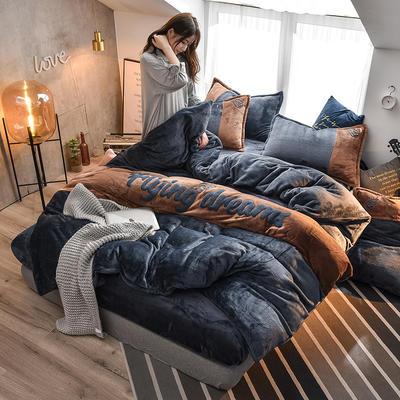 2019新款撞色毛巾繡法蘭絨四件套法萊絨保暖四件套 1.5m床單款四件套 寶藍