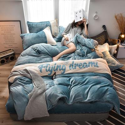 2019新款撞色毛巾繡法蘭絨四件套法萊絨保暖四件套 1.5m床單款四件套 灰藍