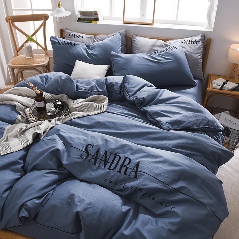 2020新款轻奢刺绣全棉四件套 40S贡缎长绒棉纯色工艺套件 1.2m床单款三件套 轻奢款—星蓝