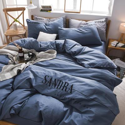 2020新款輕奢刺繡全棉四件套 40S貢緞長絨棉純色工藝套件 1.2m床單款三件套 輕奢款—星藍