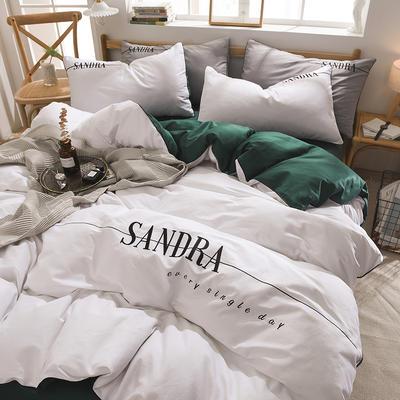 2020新款輕奢刺繡全棉四件套 40S貢緞長絨棉純色工藝套件 1.5m床單款四件套 輕奢款—靚白+墨綠