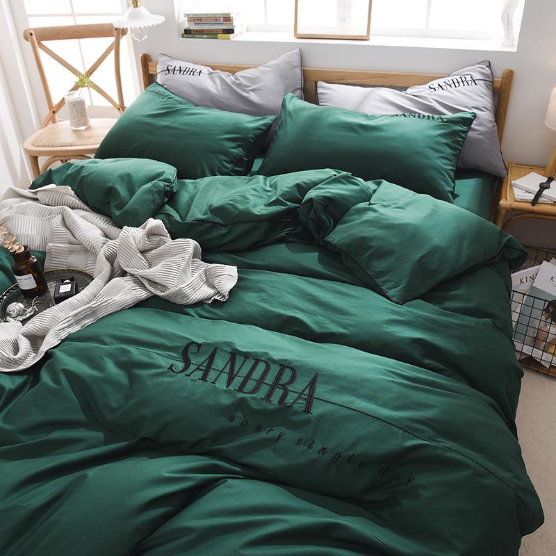 2020新款轻奢刺绣全棉四件套 40S贡缎长绒棉纯色工艺套件 1.2m床单款三件套 轻奢款—墨绿