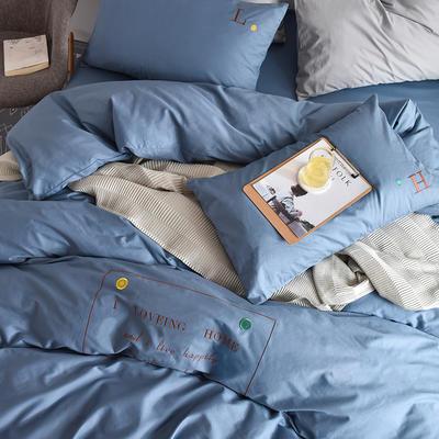 2020新款轻奢刺绣全棉四件套 40S贡缎长绒棉纯色工艺套件 1.2m床单款三件套 时尚款—星蓝