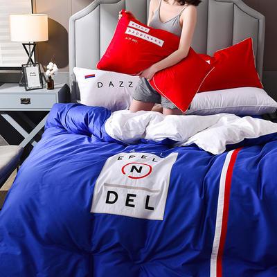 2020新款拼色刺绣40支全棉四件套潮流系列 1.2m床单款三件套 潮流—宝石蓝