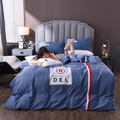 2020新款拼色刺绣40支全棉四件套潮流系列 1.5m床单款四件套 潮流—星蓝