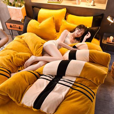 2020炫拼风法兰绒四件套纯色运动风拼色法莱绒四件套 1.5m(5英尺)床 白郁金香