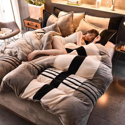 2020炫拼风法兰绒四件套纯色运动风拼色法莱绒四件套 1.5m(5英尺)床 繁简