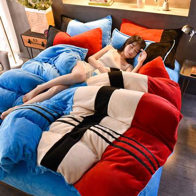 2020炫拼风法兰绒四件套纯色运动风拼色法莱绒四件套 1.5m(5英尺)床 警示灯