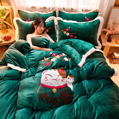 2020新款宽边卡通法兰绒四件套法莱绒保暖套件 1.8m床单款四件套 祝愿猫-帝王绿