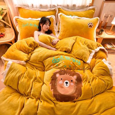 2020新款宽边卡通法兰绒四件套法莱绒保暖套件 1.5m床单款四件套 萌狮-姜黄色