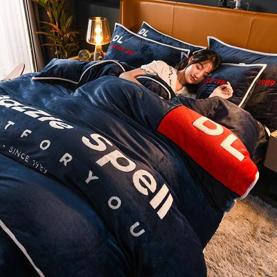 2020新款DL法兰绒四件套 1.2m床单款三件套 DL-宝蓝色