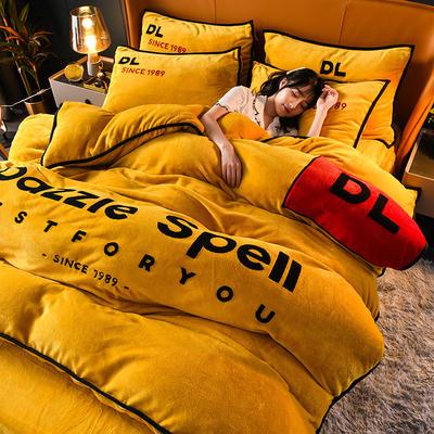 2020新款DL法兰绒四件套 1.8m床单款四件套 DL-姜黄色