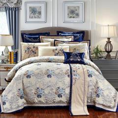 高精密色织婚庆大提花(四)清城雅韵—蓝 标准(1.5m-1.8m床) 六件套(床单式)