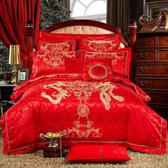 欧式婚庆多件套(二)龙凤祥和 信封枕 九件套(床单式)