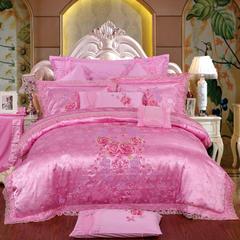 蕾丝婚庆多件套-唯美 信封枕 九件套(床单式)粉红