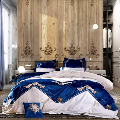高档仿皮草冬季保暖皇家真丝绒床上用品四件套 加厚床品套件 1.5m(5英尺)床 塞芙勒