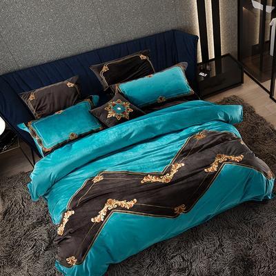 高档仿皮草冬季保暖真丝绒绒床上用品四件套 加厚床品套件 1.8m(6英尺)床 塞芙勒—蓝
