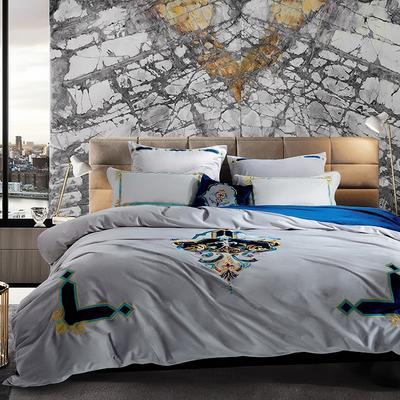 高档仿皮草冬季保暖法拉绒床上用品四件套 加厚床品套件 1.5m(5英尺)床 卡塞尔—太空灰