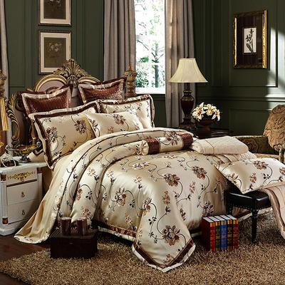高精密色织婚庆大提花-光华溢彩—咖 标准(1.5m-1.8m床) 四件套(床单式)