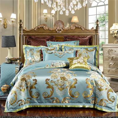 高精密色织婚庆大提花-华贵风情-蓝 标准(1.5m-1.8m床) 四件套(床单式)