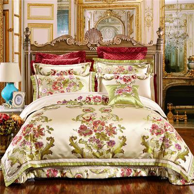 高精密色织婚庆大提花-华贵风情-米 标准(1.5m-1.8m床) 四件套(床单式)