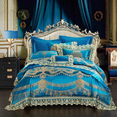 高精密色织婚庆大提花-梦回米兰 加大(2.0m-2.2m床) 九件套(床盖式)