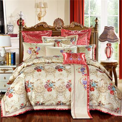 高精密色织婚庆大提花-清城雅韵-红 加大(2.0m-2.2m床) 九件套(床盖式)