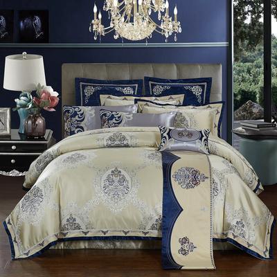 高精密色织婚庆大提花-旋律心情 加大(2.0m-2.2m床) 九件套(床盖式)