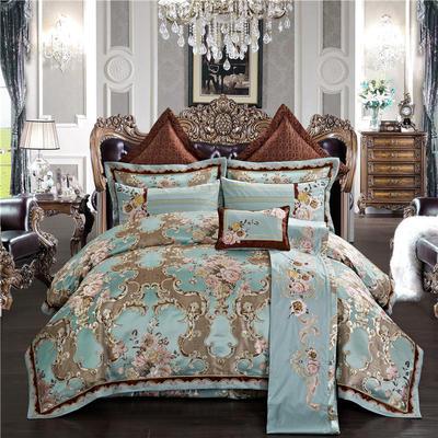 高精密色织婚庆大提花-永恒岁月 加大(2.0m-2.2m床) 九件套(床盖式)