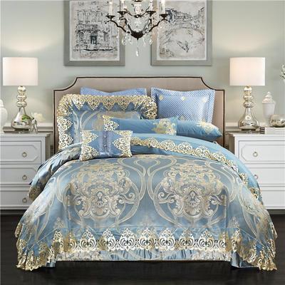 高精密色织婚庆大提花-浪漫巴黎 加大(2.0m-2.2m床) 九件套(床盖式)