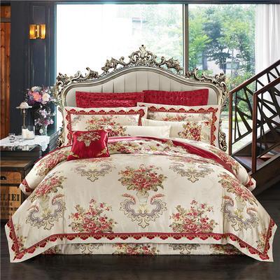 高精密色织婚庆大提花-欧洛风情 加大(2.0m-2.2m床) 九件套(床盖式)