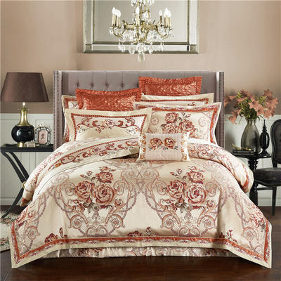 高精密色织婚庆大提花-盛世繁华 加大(2.0m-2.2m床) 九件套(床盖式)