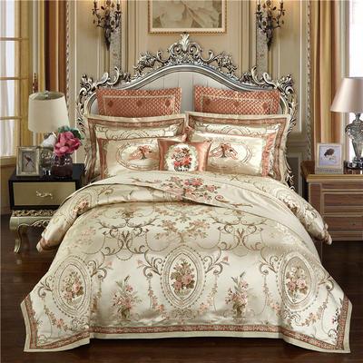 高精密色织婚庆大提花-维多利亚 标准(1.5m-1.8m床) 四件套(床单式)