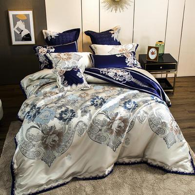 2020新款60S长绒棉多件套-富贵望族 1.5-1.8m床单款四件套 富贵望族-蓝