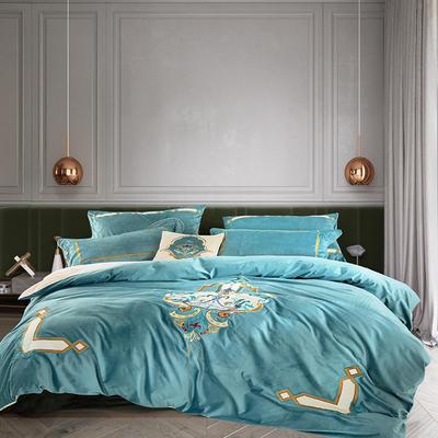 2020新款皇家真丝绒多件套-卡塞尔 1.5-1.8m床单款四件套 卡塞尔-气质蓝