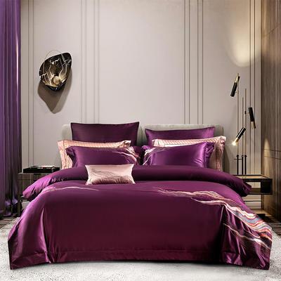 2020新款AB版100支丝光棉四件套 1.5-1.8m床单款四件套 云天-酱紫色