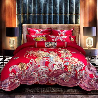 2021新款新疆长绒棉刺绣婚庆套件--千禧龙凤 1.5-1.8m床单款四件套 千禧龙凤