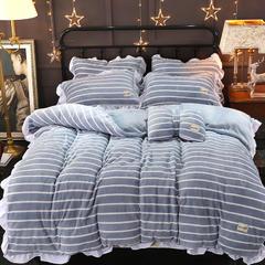 荷叶边法兰绒四件套  暖光调风格 1.8m(6英尺)床 条纹浅蓝