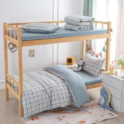 2021新款正宗13372纯棉学生宿舍上下铺三件套 155*205cm被套床单款三件套 多伦颂-蓝