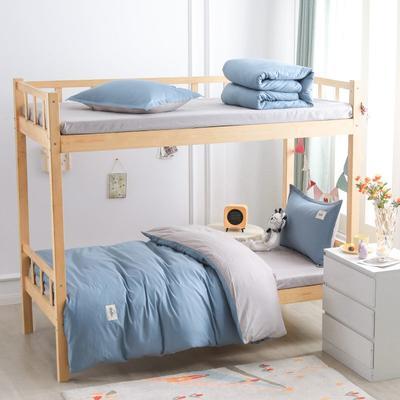 2021新款13070全棉纯色学生宿舍三件套 155*205cm被套床单款三件套 宾利蓝灰