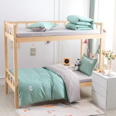 2021新款13070全棉纯色学生宿舍三件套 155*205cm被套床单款三件套 抹茶水绿